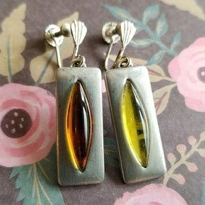 Vintage Jorgen Jensen earrings pewter amber screw
